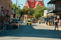 Busy Street. Corner of Key West Florida looking down the street royalty free stock image