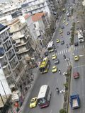 Busy Street. An above view of a busy street of Athens, Greece stock photo