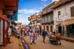 Busy street in Ambalavao Royalty Free Stock Photography