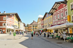 Busy street in austrian town Mondsee Royalty Free Stock Photos