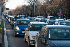 Busy street in Bucharest Royalty Free Stock Images