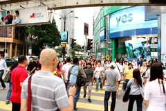 Busy Street of Bukit Bintang, Kuala Lumpur. A typical scene of people crossing the busy street at Bukit Bintang area in the central Kuala Lumpur. Bukit Bintang Royalty Free Stock Photography