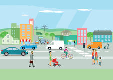 Busy street in a colorful town. Colorful illustration of a busy street in a town with single people and families walking on the pavement. A cyclist is riding vector illustration