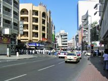 Busy street in the Deira district of Dubai Stock Photography