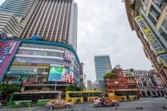 Busy street in downtown Guangzhou, China Stock Photos