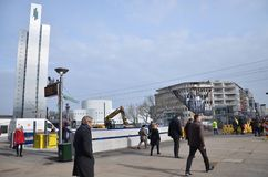 Busy street in Dusseldorf !!. City in Germany Royalty Free Stock Photography
