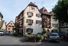 Busy street in Eguisheim , Alsace Province Stock Image
