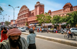 Busy street in front of Hawa Mahal Royalty Free Stock Photo