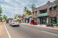 Busy street in Hikkaduwa. Royalty Free Stock Images