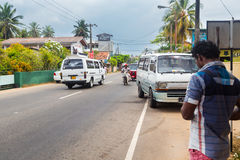 Busy street in Hikkaduwa. Royalty Free Stock Image