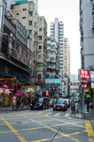 Busy street in Hong Kong downtown Royalty Free Stock Images