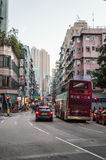 Busy street in Hong Kong downtown Stock Photos