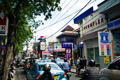 Busy street in Kuta, Bali Stock Photo