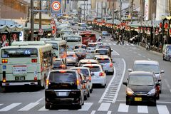Busy street in Kyoto Royalty Free Stock Photography