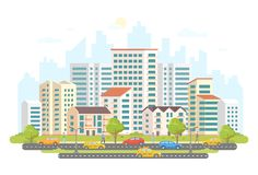 Busy street life - modern colorful flat vector illustration Stock Illustration