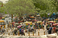 Busy street Main Bazar, Paharganj, in Delhi, India. Stock Image
