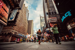 Busy street in Manhattan, New York City. Busy street in Manhattan with people, New York City Royalty Free Stock Photos
