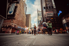 Busy street in Manhattan, New York City. Busy street in Manhattan with people, New York City Royalty Free Stock Image