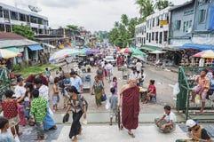 Busy street market in yangon myanmar Royalty Free Stock Photo