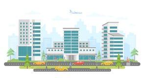 Busy street - modern colorful flat vector illustration Stock Illustration