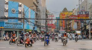 Busy street with motorcycles in Bangkok stock photos