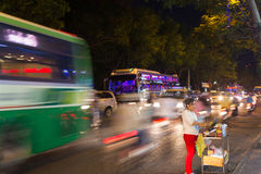 Busy Street at night in Ho Chi Minh City Saigon Royalty Free Stock Photography