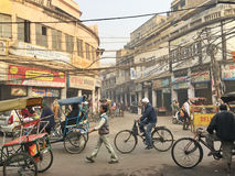 Busy Street in Old Delhi, India Royalty Free Stock Photos