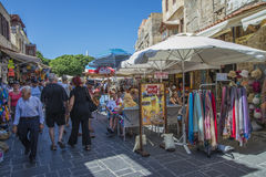 Busy street in the old town of rhodes Stock Images