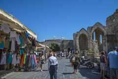 Busy street in the old town of rhodes Stock Photography