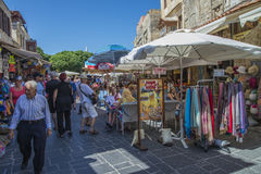 Busy street in the old town of rhodes Stock Image
