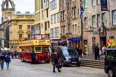 Busy street Royal Mile in Edinburgh, Scotland Stock Images