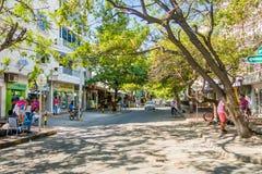 Busy street in Santa Marta, caribbean city Stock Images