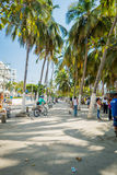 Busy street in Santa Marta, caribbean city Stock Image