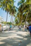 Busy street in Santa Marta, caribbean city Stock Image