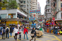 Busy street scene at an intersection in Hong Kong Stock Image