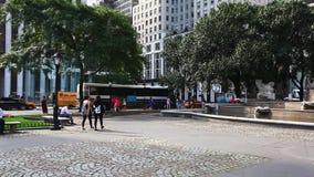 A busy street scene in Manhattan stock footage