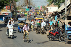 Busy street, suburban Agra, India. Royalty Free Stock Photography