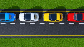 Busy street (top view) Royalty Free Stock Photo