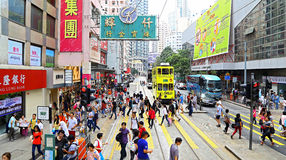 Busy street view of wan chai, hong kong Royalty Free Stock Images