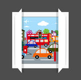 Busy street view from window Royalty Free Stock Photography