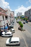 Busy street in Yangon Stock Photo