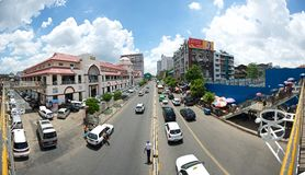 Busy street in Yangon Stock Image