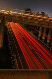 Busy Streets. A busy highway at night shot from a bridge stock photo