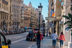 Busy Streets in Barcelona, Spain Stock Images