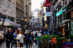 The busy streets in Budapest, Hungary. The busy streets are full of tourists in Budapest, Hungary royalty free stock image