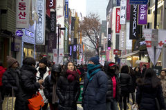 Busy Streets Of Myeongdong Seoul Korea Stock Photography