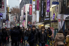 Busy Streets Of Myeongdong Seoul Korea Royalty Free Stock Photo