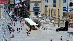 Busy streets of old Valletta, Malta stock video footage