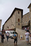 Busy streets of San Marino. Busy street with tourists in historic centre of San Marino Royalty Free Stock Photo