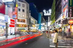 Busy streets of Shibuya district in Tokyo Stock Photography
